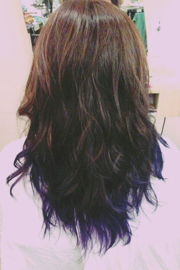 ombre brown purple hair